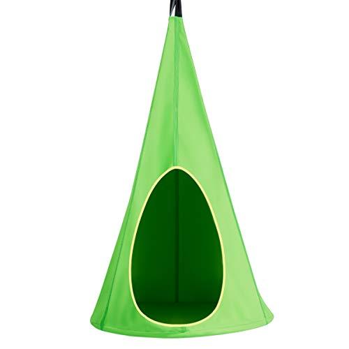 COSTWAY Tienda Colgante Columpio Hamaca Silla para Niños Carga hasta 115 kg Columpio Infantil 80x80x148 centímetros para Jardín Interior Exterior (Verde)