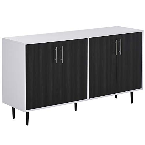 HOMCOM Modern Sideboard Buffet Kitchen Storage Cabinet Console Table with Adjustable Shelves, Anti-Topple Design, and Large Countertop, Grey