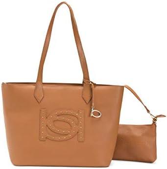 New BEBE Logo Large Tote Purse Hand Bag & Wristlet Set 2 Piece Camel Gold Stud