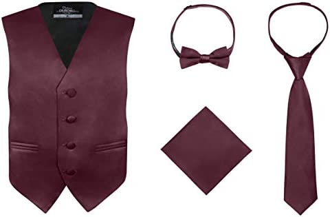S H Churchill Co Boy s 4 Piece Vest Set with Bow Tie Neck Tie Pocket Hankie Burgundy Size 8 product image
