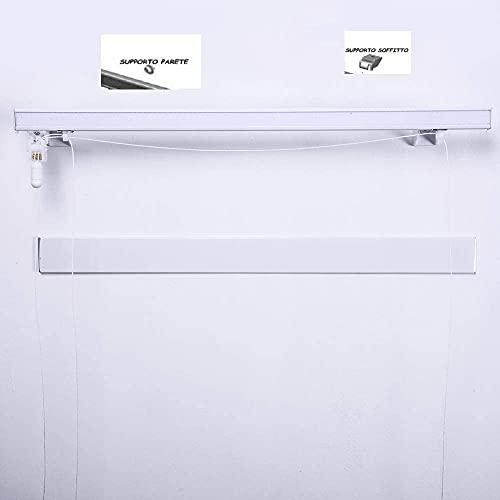 Riel para cortina de cristal profesional técnico de aluminio con 2 caladas a medida (100 cm control derecho)