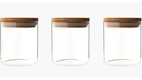UH Choice Schöne 3 Stück Vorratsgläser Set (gleich groß), Vorratsdosen Glass Jars aus Borosilikatglas Glas-Behäler Einweck-Glas mit Bambus Lid, D 9,6 cm, H 11,5 cm, 0,6L