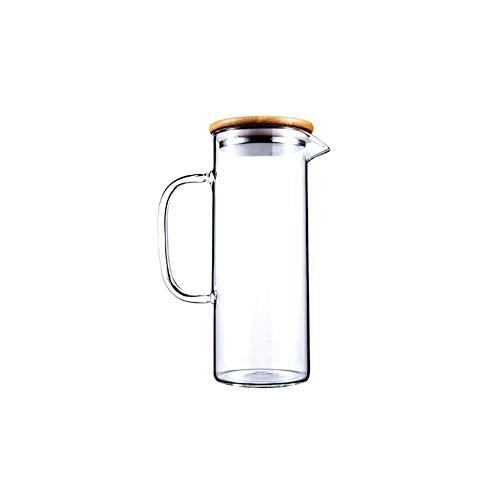 HJYSQX Jarra de Agua Vaso, Jarra con Tapa Helada y asa Jarra de Vidrio Resistente al Calor de borosilicato para té/Agua fría y Caliente/Hielo Vino Café Leche y Jugo, Jarra de Bebidas de borosil