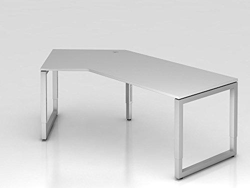 Winkeltisch O-Fuß eckig, 210x113cm, 135°, Grau