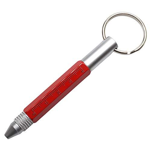 コンパクト 多機能ペン 手のひらサイズ カラビナ リング キーホルダー ボールペン スタイラスペン タッチペン 定規 ドライバー 持ち運び 文具 (リング/レッド) PR-COPEN-RING-RD