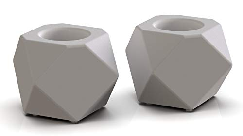 MI-BEST Teelichthalter aus Beton - dekorativer Kerzenständer - polygonaler Kerzenhalter [2er Set] - Scandinavische geometrische Deko - Elegante Teelichterhalter - Geschenkidee & Wohnaccessoires