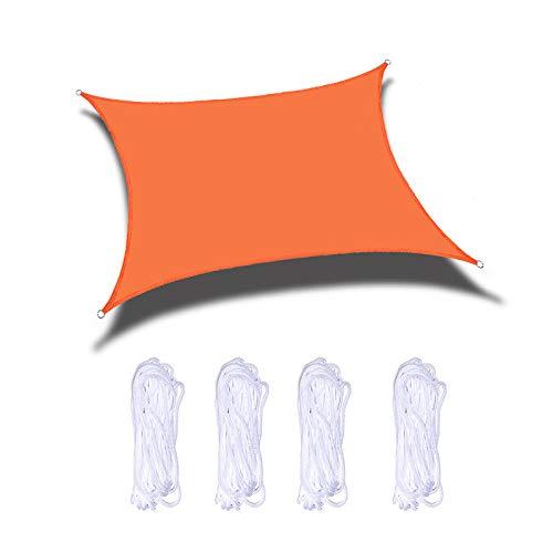 HOXMOMA Sun Shade Sail Rectangular 2x5m / 6.5'x16.4 'Waterproof Canopy UV Block Heavy Duty Awning Sunshade Cover for Patio Backyard Garden Deck Outdoor Installation and Activities,Orange