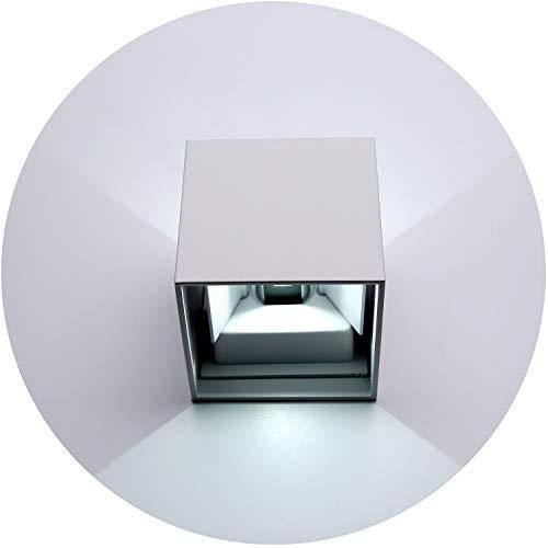 Topmo-plus 12w lampada da parete a LED con angolo di visualizzazione regolabile/Applique a LED per esterni / IP65 / Puri COB/Illuminazione a parete Quadrato 10CM 6000K (Bianco/bianco freddo)