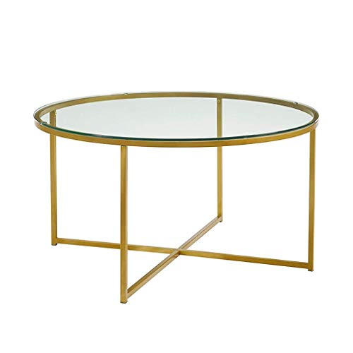 DJPP Desk,Round Coffee Table, Tempered Glass Countertop, Golden Metal Frame, Living Room Table/Coffee Table Φ70X40Cm