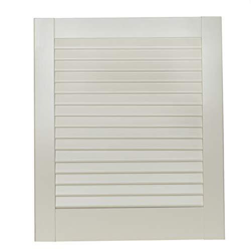 1-er Pack/Ein Stück Lamellentüren weiß seidenmatt mit geschlossenen Lamellen Kiefernholz 462 x 394 x 21 mm für Regale, Schränke, Möbel - EINBAUFERTIG grundiert & lackiert