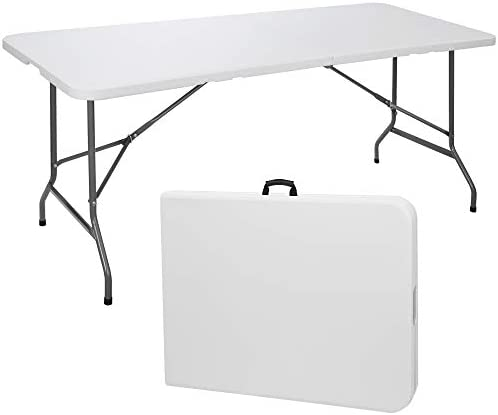 SUPER DEAL 6 Folding Picnic Table for Outdoor Portable Fold in Half Plastic Dining Picnic Party product image