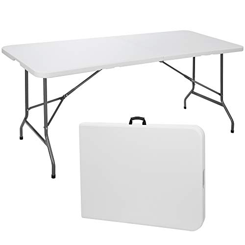 ZenStyle 6 ft Indoor Outdoor Heavy Duty Plastic Folding Table Portable Picnic Table Fold-in-Half Utility Table w/Handle and Steel Legs for Camping, Dining, Party, 71 x 27 Inch, White