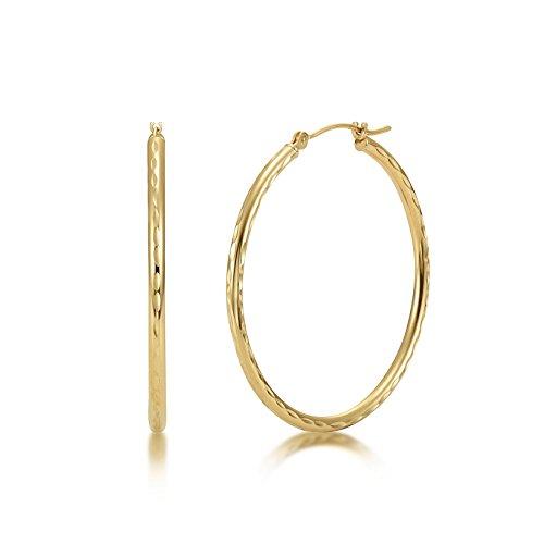 Full Diamond Cut 14k Yellow Gold 2mm x 35mm Click Top Tube Hoop Earrings - By Kezef Creations