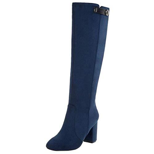 RAZAMAZA Mujer Moda Tacón Ancho Cómodo Botas de Rodilla Cremallera Zapatos Fiesta Botas Blue Size 33 Asian