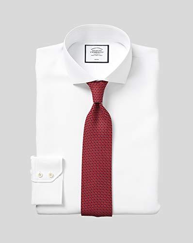 Charles Tyrwhitt Bügelfreies Twill Hemd mit Haifischkragen - Weiß Knopfmanschette