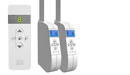 WIR elektronik, eWickler Comfort 2 Fenster Funk-Set, eW940-F-M, 2x Gurtwickler + 1x Fernbedienung FB-9, für 15mm Gurtband, Aufputz, bis 45Kg, Fahrtzeiten einstellbar (2 Fenster)