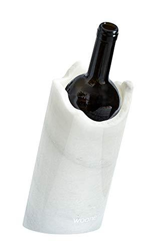 STEIN:WERK Woone Design Weinkühler Marmor Bianco geneigt, Flaschenkühler Kühlmanschette   Kühler für Weinflaschen, Geburtstag, Hochzeitsgeschenk, Wein