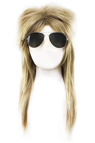 Hippie Vokuhila Perücke Thermosilk Kunsthaar hitzebeständig blonde Rocker Perücke + Brille Hippie-Kostüm Zubehör-Set 60er 70er 80er 90er Jahre Outfit Verkleidung Accessoires