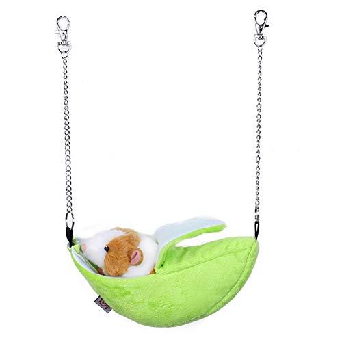 SayHia knuffelbed voor knaagdieren katten hangmat huisdier katjes deken kooi hangend bed voor puppy ratten frettchen konijnenknuffeltunnel, 01, groen