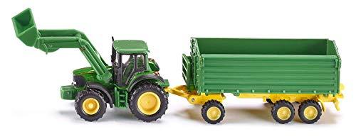 SIKU 1843, John Deere Traktor mit Frontlader und Anhänger, 1:87, Metall/Kunststoff, Grün, Kippbarer Anhänger