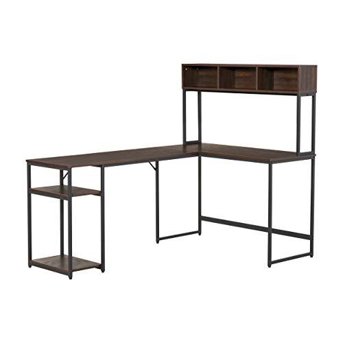 homcom Scrivania Angolare con Libreria e Mensola per PC in Stile Industriale, Legno e Metallo 170x120x140cm, Noce e Nero