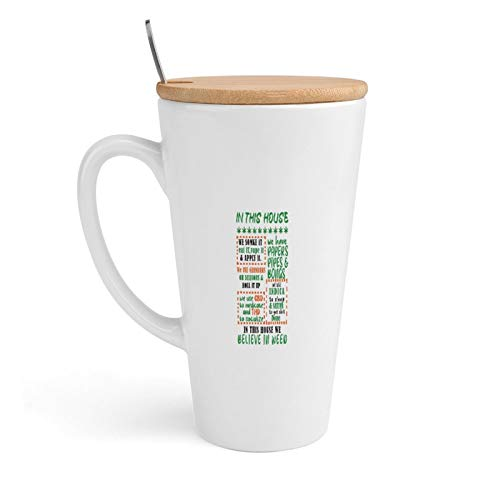 Ceramic Coffee Mug, in This House We Somke It, Eat It, Vape It & Apply It., Tea Cup with Lid & Spoon for Office and Home, 18Oz