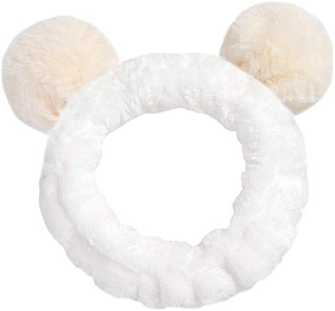 Women Fashion Plush Headband Hair Loop Elastic Coral Fleece Hair Band with Cute Pompons for Makeup Shower and Cosplay