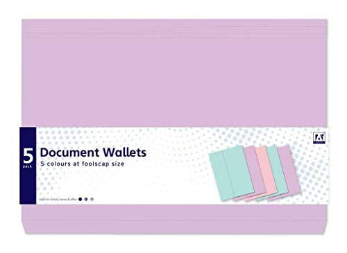 IGD (DOPP) A4 Pastel Document Portemonnees Foolscap Grootte - Pack van 5