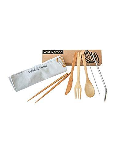 Wild & Stone | Reutilizable orgánico de bambú de Picnic Cubiertos Conjunto | Cuchara, Tenedor, Cuchillo, Palillos y Acero Inoxidable Paja de Lino Bolsa | 8 Piezas