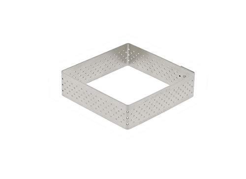 De Buyer 3099.21 Cercle à Tarte Perforé Carré Valrhona - inox - Bord Droit - ht. 2 cm - 15 x 15 cm