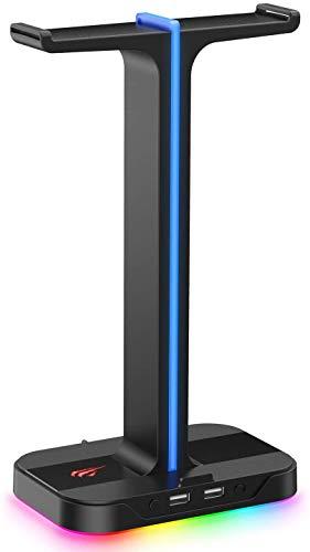 havit RGB付きヘッドホンスタンド 組み立て式 デュアルヘッドセットスタンド 携帯電話ホルダー 安定性 多機能フックヘッドホン収納対策TH650 (黒い)