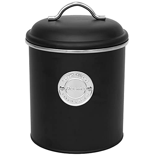 Koopman Boîte de conservation en métal « Biscuits » avec couvercle Ø 13,5 x H 18 cm 1,5 l Noir