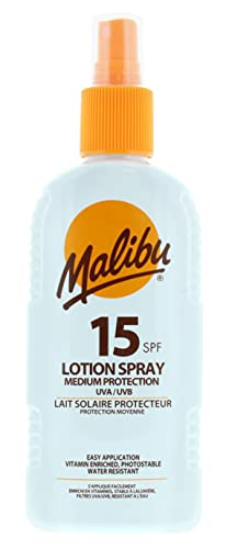 Malibu Medium Protection Sun Lotion Spray SPF15 With Vitamin E And Pro Vitamin B5 200 ml