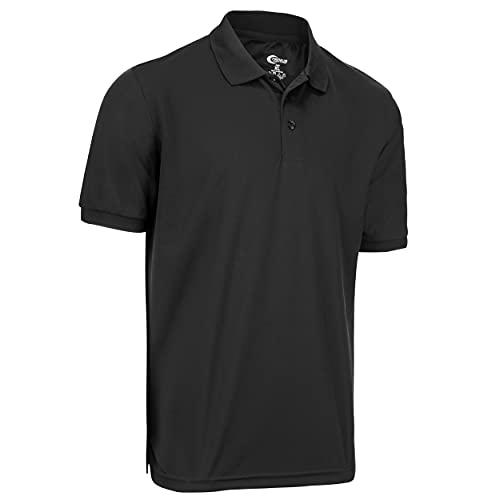 Premium Mens High Moisture Wicking Polo T Shirts (Black, Medium)