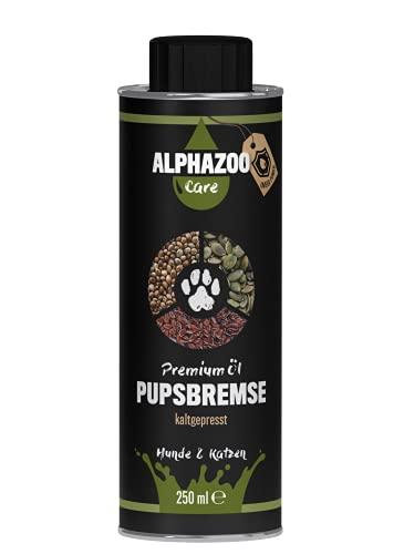 alphazoo Pupsbremse Futteröl für Hunde & Katzen 250 ml, Barf-Öl für eine ausgeglichene Verdauung, Premium Naturöl-Mischung aus Leinöl, Hanföl & Kürbiskernöl zum Barfen für Hunde
