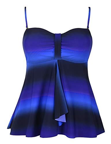 Hilor Women's Flyaway Tankini Top Bandeau Swimsuit Flowy Bathing Suit Black&Blue 18