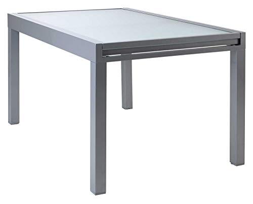 Ausziehtisch Gartentisch Terrassentisch | 135x90 cm | Grau | Aluminium | Glas | Ausziehbar