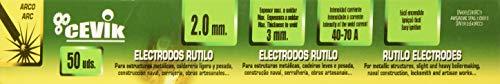 Cevik TECA502.0RU - Electrodos rutilo 2 mm, Caja de 50 unidades