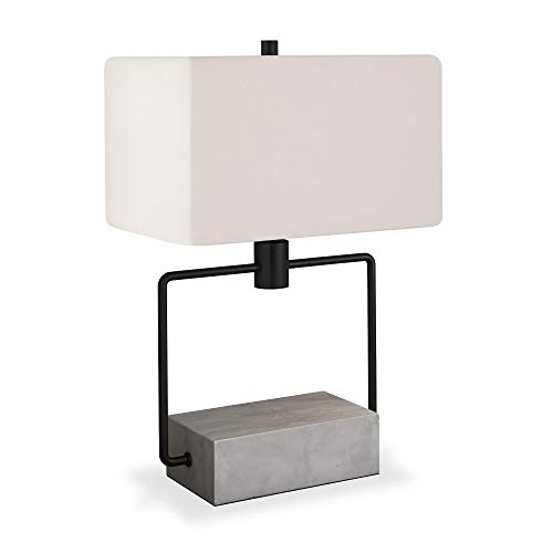 Henn&Hart TL0086 Contemporary Modern Bedside Table Concete and Blackened Bronze with White Linen Fabric Shade for Nightstand, Bedroom, Living Room, Office Lamp, One Size, Grey