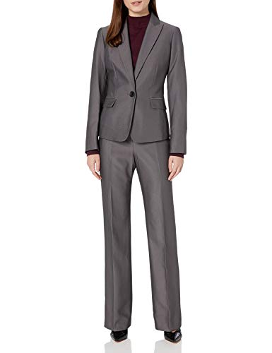 Le Suit Women's 1 Button Peak Lapel Novelty Pant Suit, Platinum/Black, 8