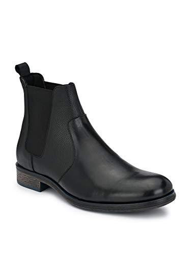 Delize Black/Brown Chelsea Ankle Boots for Men's (8, Black)