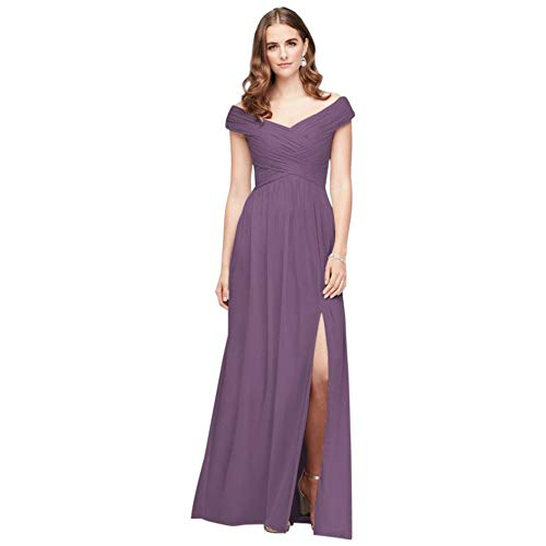 David's Bridal Crisscross Off-The-Shoulder Mesh Bridesmaid Dress Style F19951, Wisteria, 10