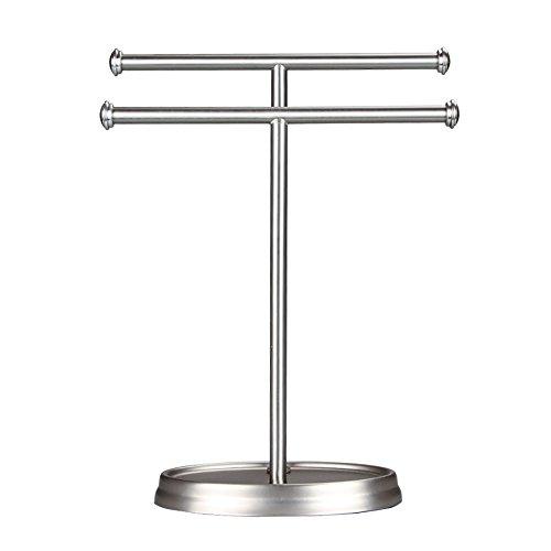 RENJUN Toallero vertical para baño, doble níquel (26 x 35 cm)
