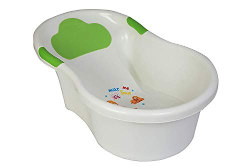 YFXOHAR Baby Bath Tub Anti Slip with Drain Plug 3 Month More Baby White and Green Color -Size 70 x 42 x 23 cm