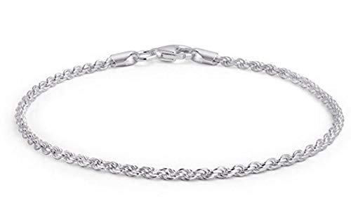Adabele 925 Sterling Silver 1.3mm French Diamond Rope 7' 7.5' 8 Inch Bracelet for Women Girls Birthday Gift - Made in Italy Nickel Free