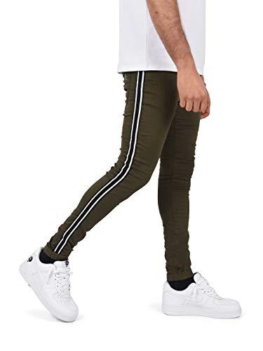 Project X Paris skinny jeans met tweetonige strepen 33, Kaki
