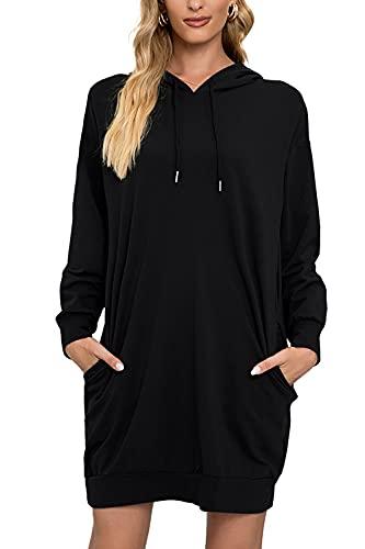 Breampot Hoodie Damen Kleid Pullover Langarm Sweatshirt Casual Kapuzenpullover Tops Herbst Hoodie Kleid (Large, Schwarz)