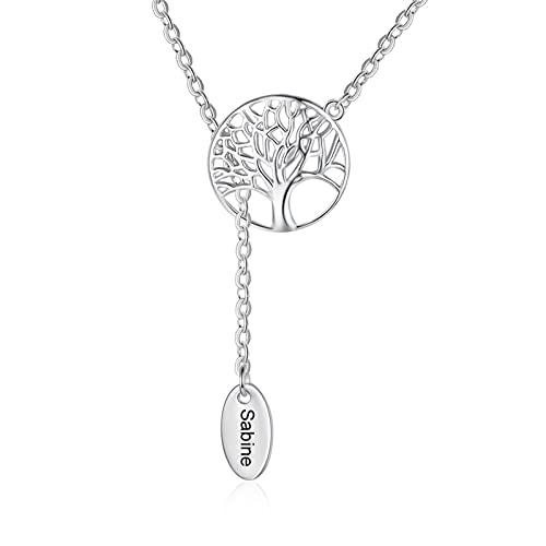 DHDHWL Collar personalizado con nombre grabado personalizado con hojas en forma de Y, collar para mujer (color metal: 1 nombre)