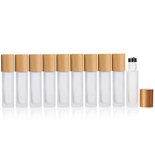 Milchglas-Flaschen für ätherische Öle, 10 Stück, 10 ml, Roller-Flaschen mit Edelstahl-Rollkugeln, Bambusdeckel, Reise-Parfüm-Roller, 2 Pipetten und 1 Öffner, weiß satiniert