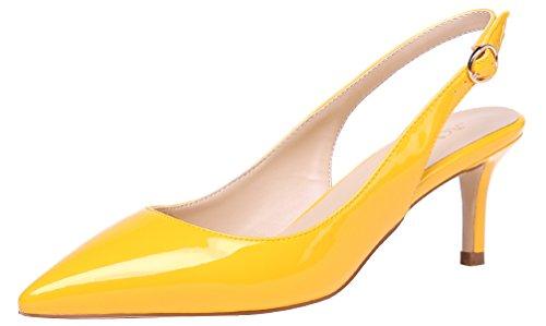 AOOAR Damen Kitten-Heel Bunt Elegante Gelb Lackleder Slingback PumpsSchuhe EU 41